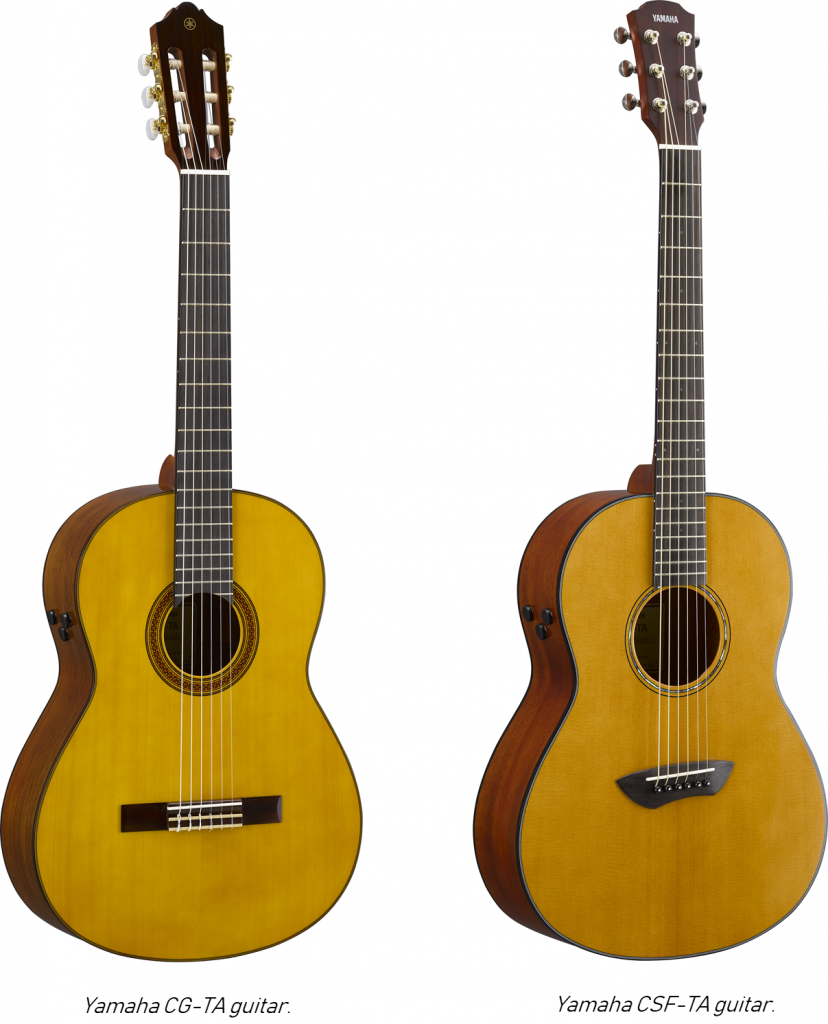 "Two acoustic guitars with captions: on left ""Yamaha CG-TA guitar."" On right ""Yamaha CSF-TA guitar."""