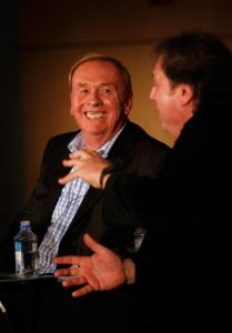 Geoff Emerick and Howard Massey talking and smiling.