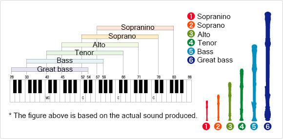 Graphic showing the dynamic ranges of different size/types of recorders.