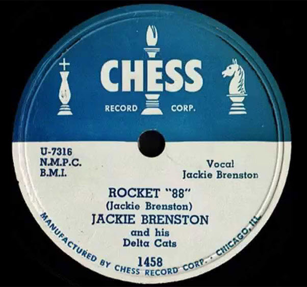 "Vinyl record single with closeup of label showing ""Rocket 88"" by Jackie Brenston and sung by Jackie Brenston and accompanied by his Delta Cats. This is on a Chess records label.the"