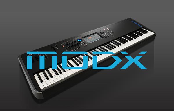 """Synthesizer keyboard with """"MODX"""" headline overlaid."""