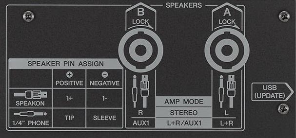 Closeup of amp connectors.
