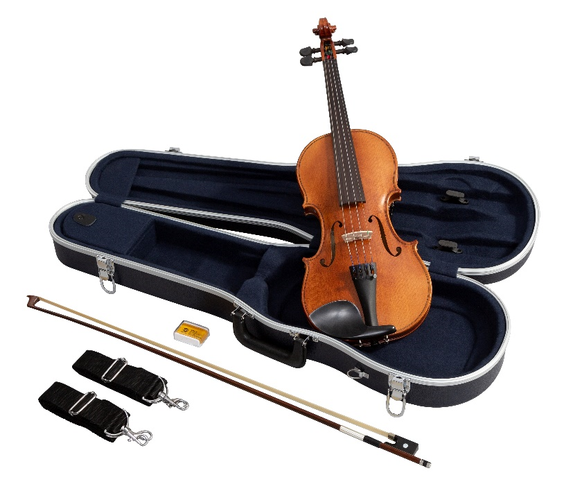 Violin with accessories, including a carrying case, bow, resin and two straps.