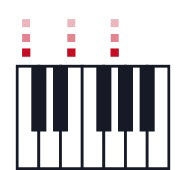 Graphic of a set of keys to represent a chord with drawn indicator lights for specific keys.