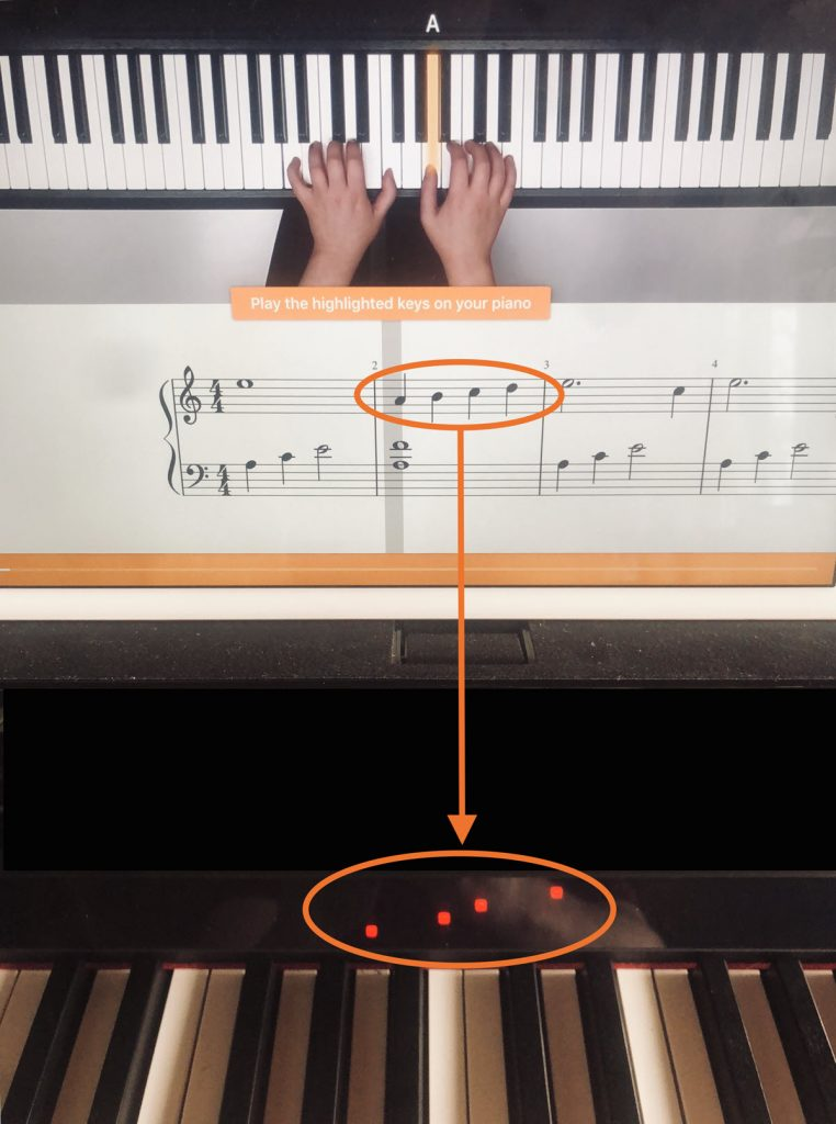 Screenshot of app showing hand placement on the keyboard, with specific notes circled in music charts and the lights above the corresponding keys on the Clavinova keyboard.