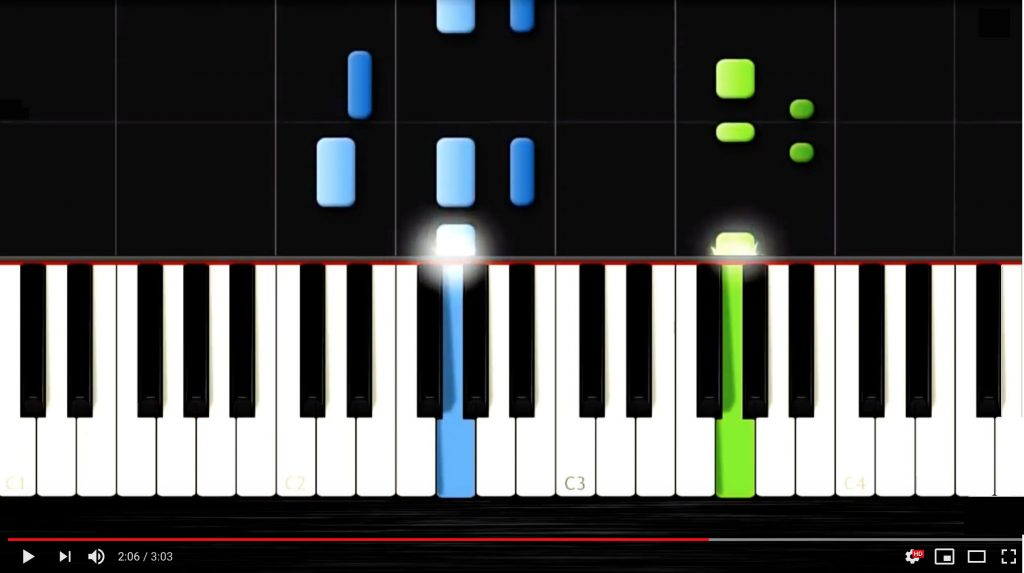 Screenshot from a video showing a graphic rendering of a piano keyboard with certain keys highlighted.