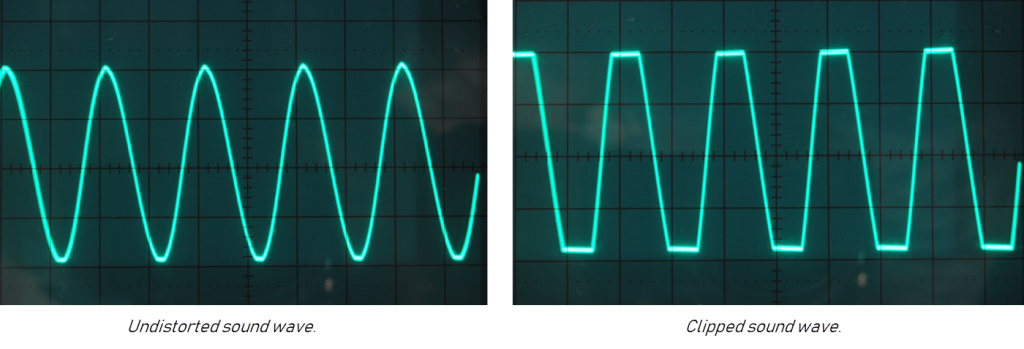 """Two sound waves side by side. One on left shows an even rhythm with rounded peaks and valleys with the caption """"Undistorted sound wave."""" and the one on the right shows peaks and valleys that are flattened or constrained with caption """"Clipped sound wave."""""""