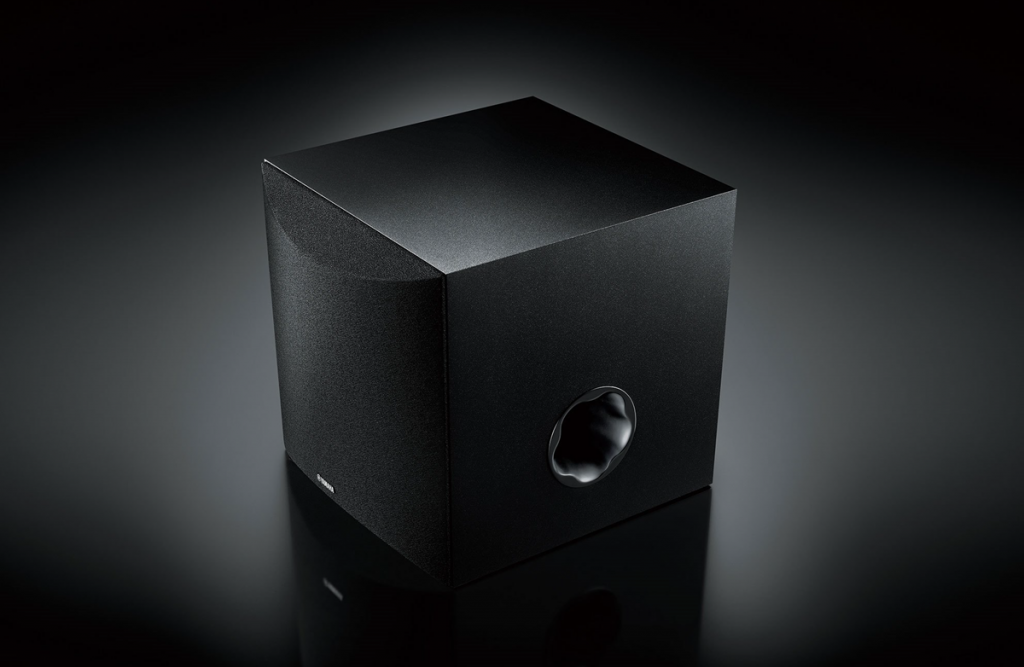 "View of front and side of subwoofer - the ""black box""."