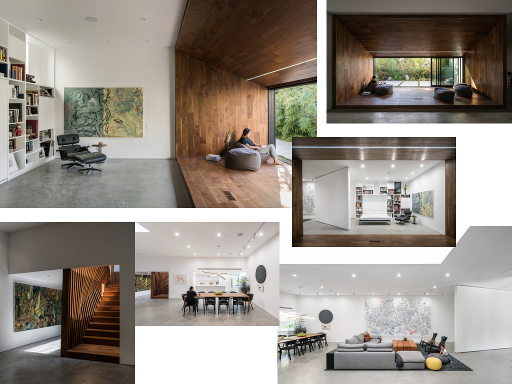 A collage of images showing interior rooms of a modern house.