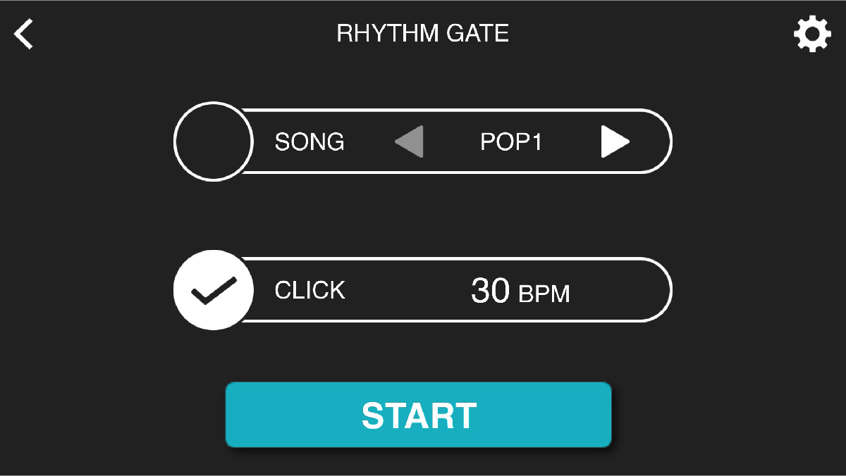 An image taken of the rhythm gate section of an app.