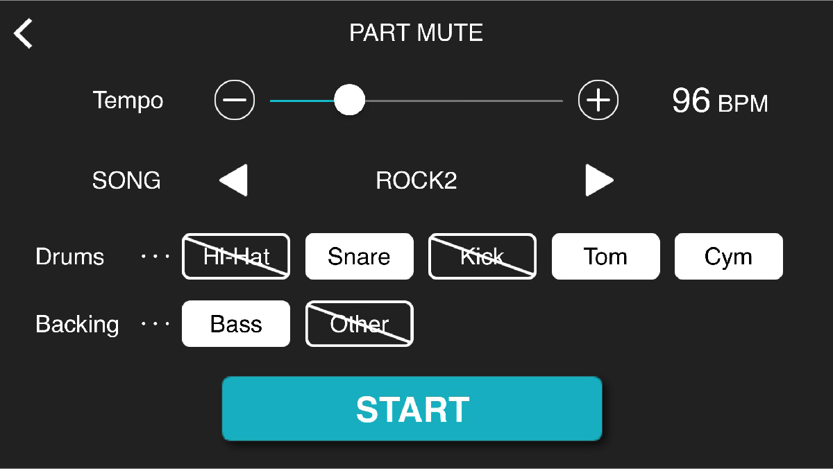 An image taken of the part mute section of an app.