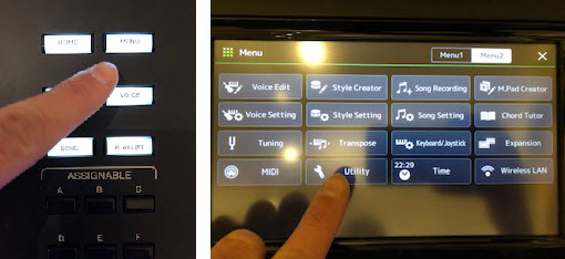 An image of a finger pressing different buttons in an interface.