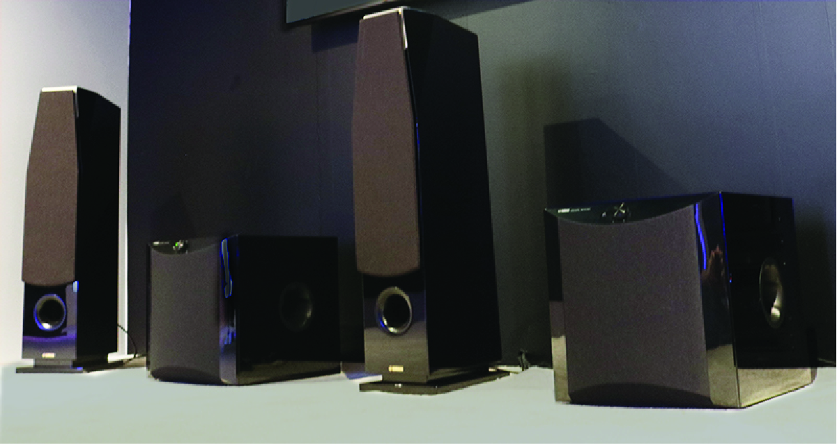 Surround sound system featuring two speakers and two subwoofers.