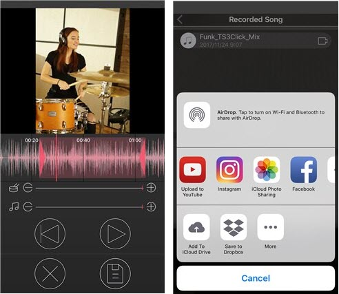 Two side-by-side images demonstrating recording and sharing in an app.