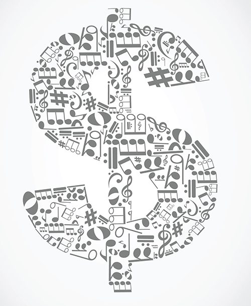An image of a dollar sign filed with music notes.