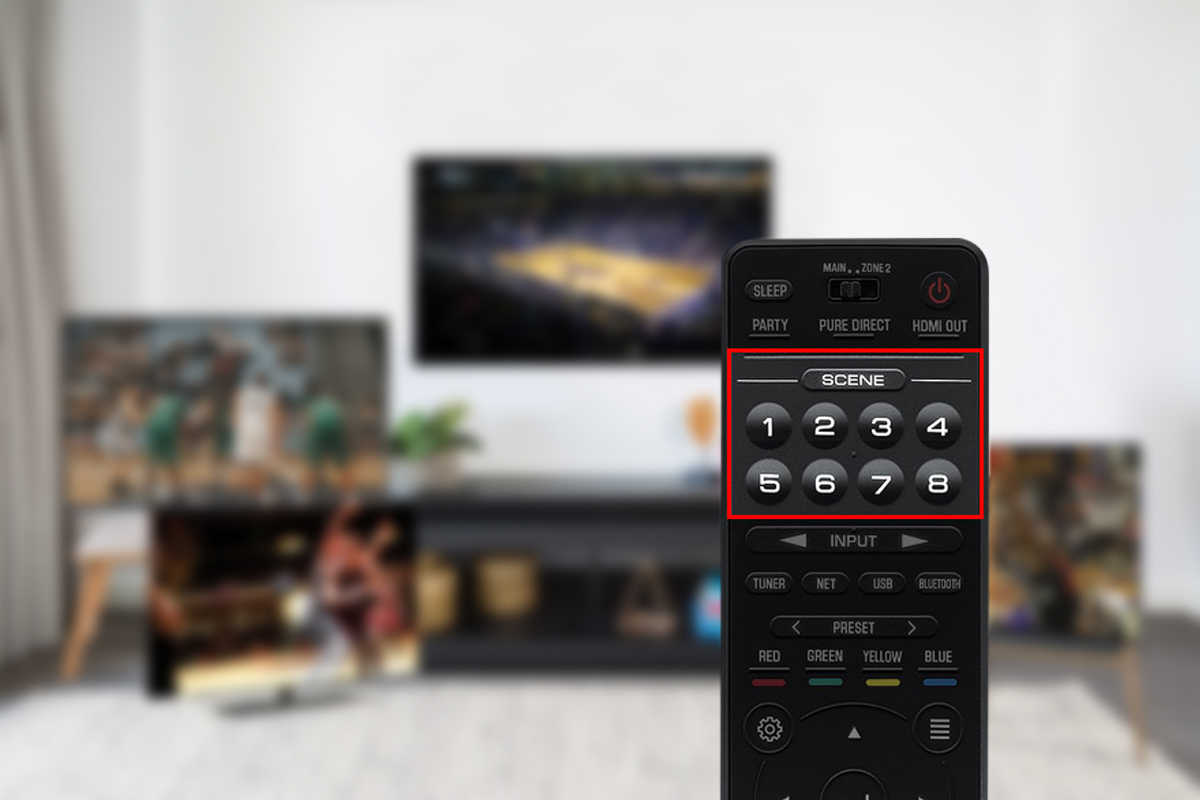 An image of the SCENE button a remote control linked to a home theater system.
