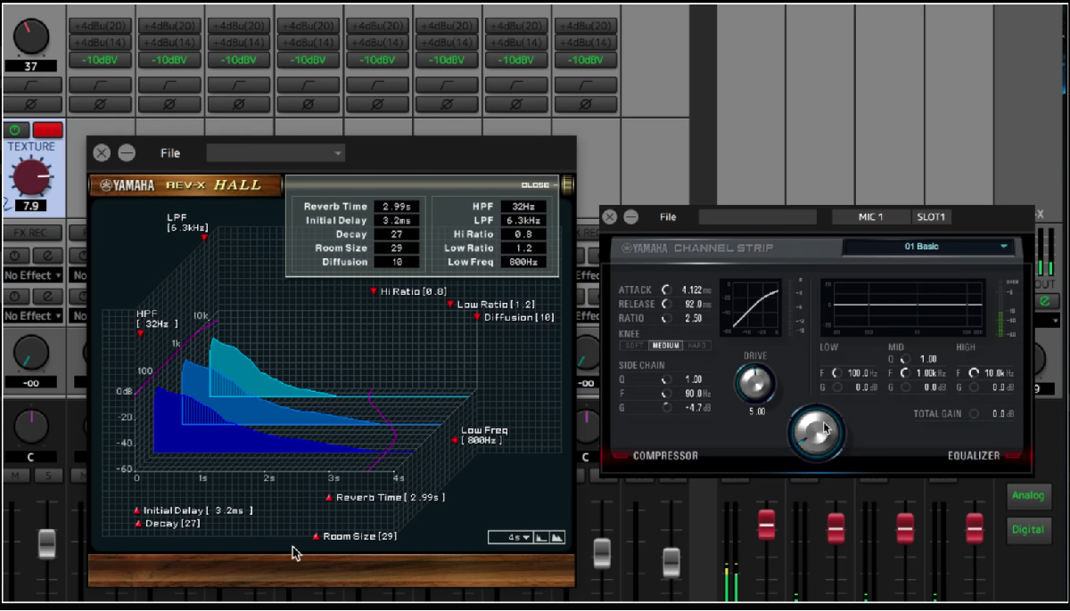 An image of a display output of Steinberg dspMixFx software.