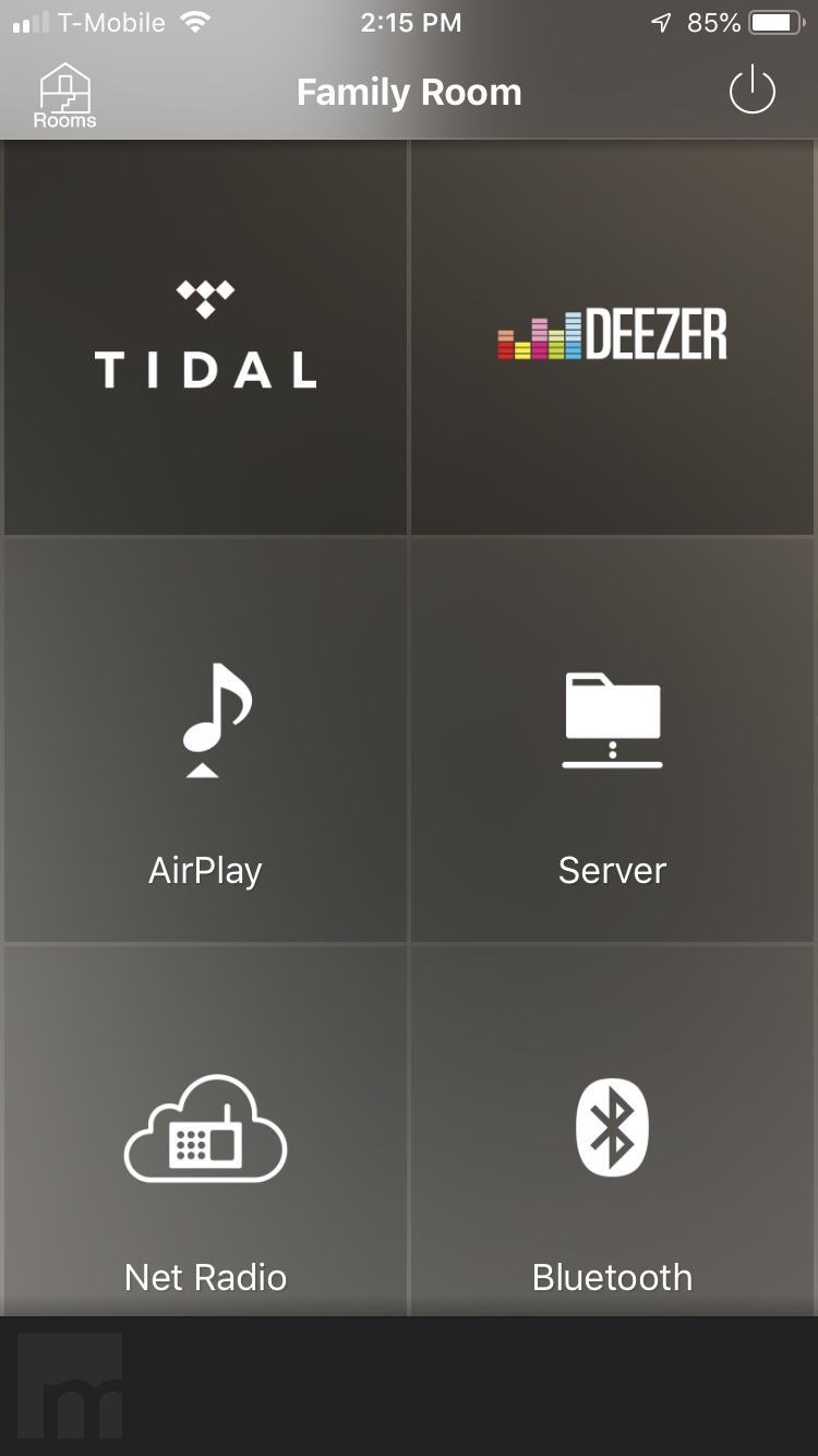 An image of a user screen from the Yamaha MusicCast App.