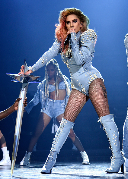 An image of pop singer lady gaga performing on stage.