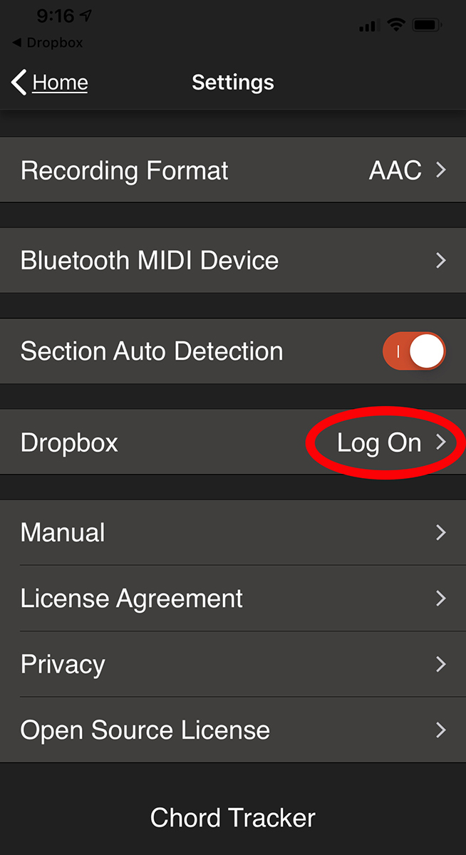 An image highlighting the dropbox login button in the Chord Tracker app.