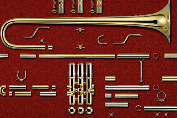 An image of a disassembled trumpet.