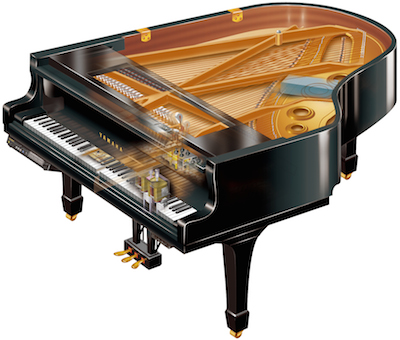 An image of an open Yamaha Disklavier piano.