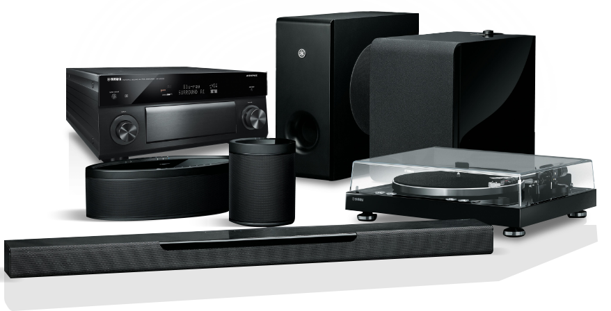 An image of different Yamaha music electronics products.