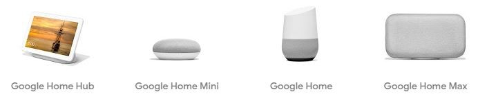 An image of various Google Home products.