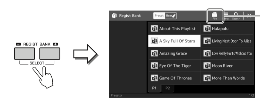 Diagram of Regist Bank buttons selected on left and arrow to right with screenshot of corresponding functionality.