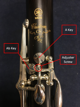 Closeup of clarinet keys and adjuster screw with elements called out.