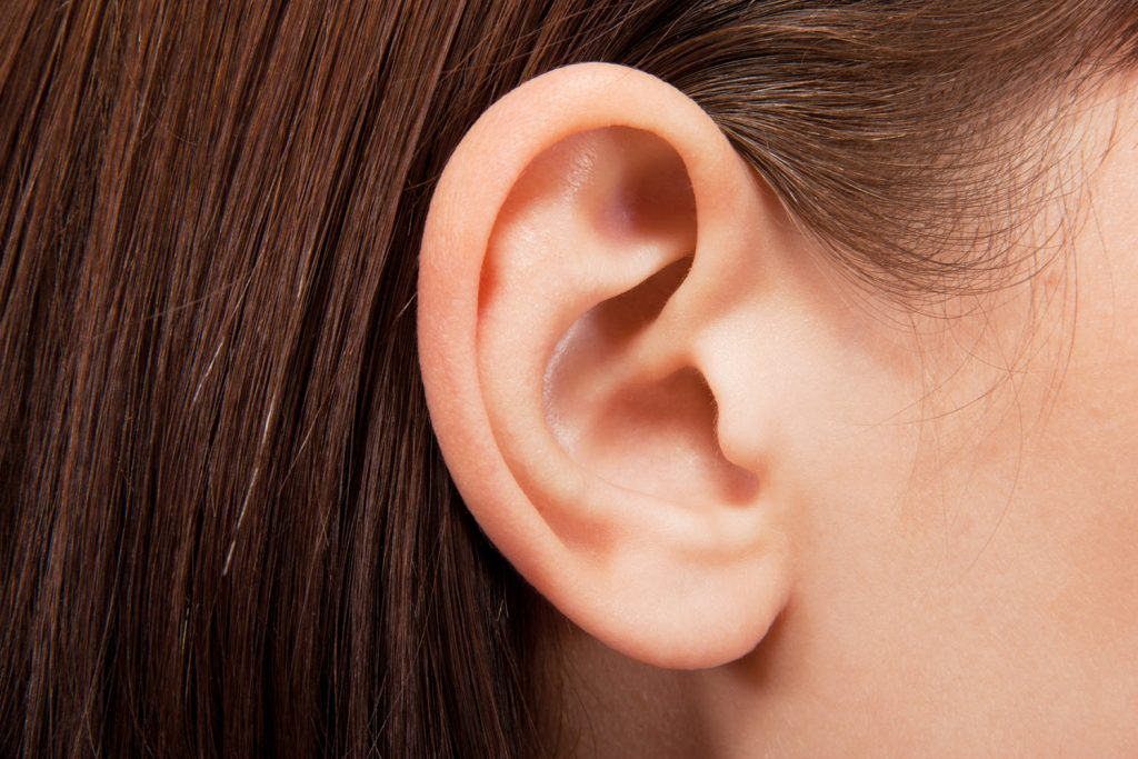 Closeup of a woman's right ear.