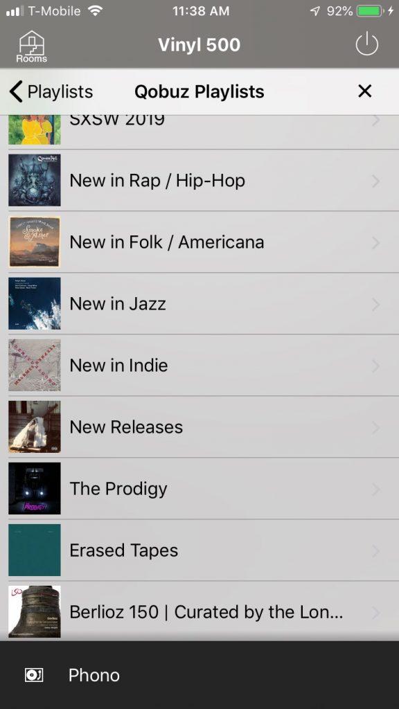 Screenshot of Qobuz functionality within Yamaha MusicCast app.