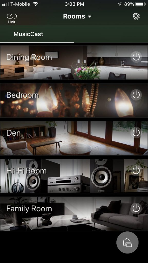 Screenshot of the Yamaha MusicCast app screen showing the rooms for options.