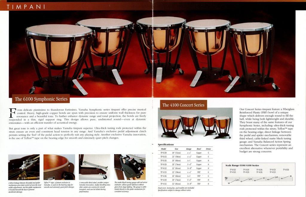 Double page brochure with written specifications on the 6100 and 4100 series timpani drums. Top of page is an image of a set of 5 timpani drums.