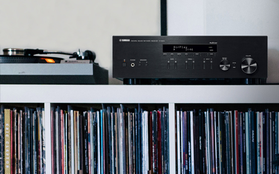 Turntable and receiver on a shelf above a shelf of vinyl albums.