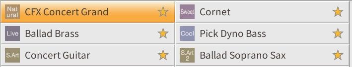 Screenshot showing categories of sounds.