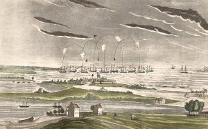 Drawing of the battle scene with cannonballs flying between the Fort in the foreground and the masted ships in the harbor in the background.