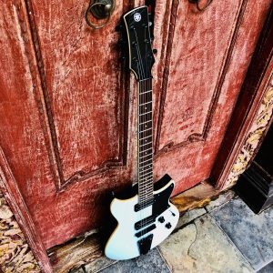 Electric guitar stood up against a door.