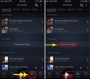 "Side by side screenshots highlight how to manage ""Create playlist"" function in app."