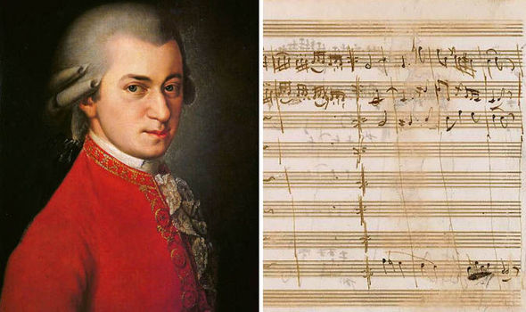 On left, there is a photo of a painting of Mozart, a young man in profile in a formal jacket and ruffled shirt. On right is a photo of one of his handwritten music manuscripts on notation paper.