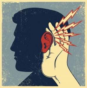 Graphic showing a man's face in profile and a hand cupping his ear and there are lightning bolts hitting the ear.