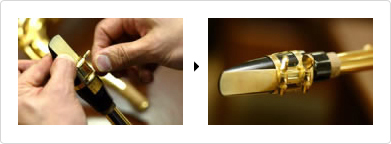 Side-by-side closeup pictures of a ligature being attached to a reed and then the final outcome.