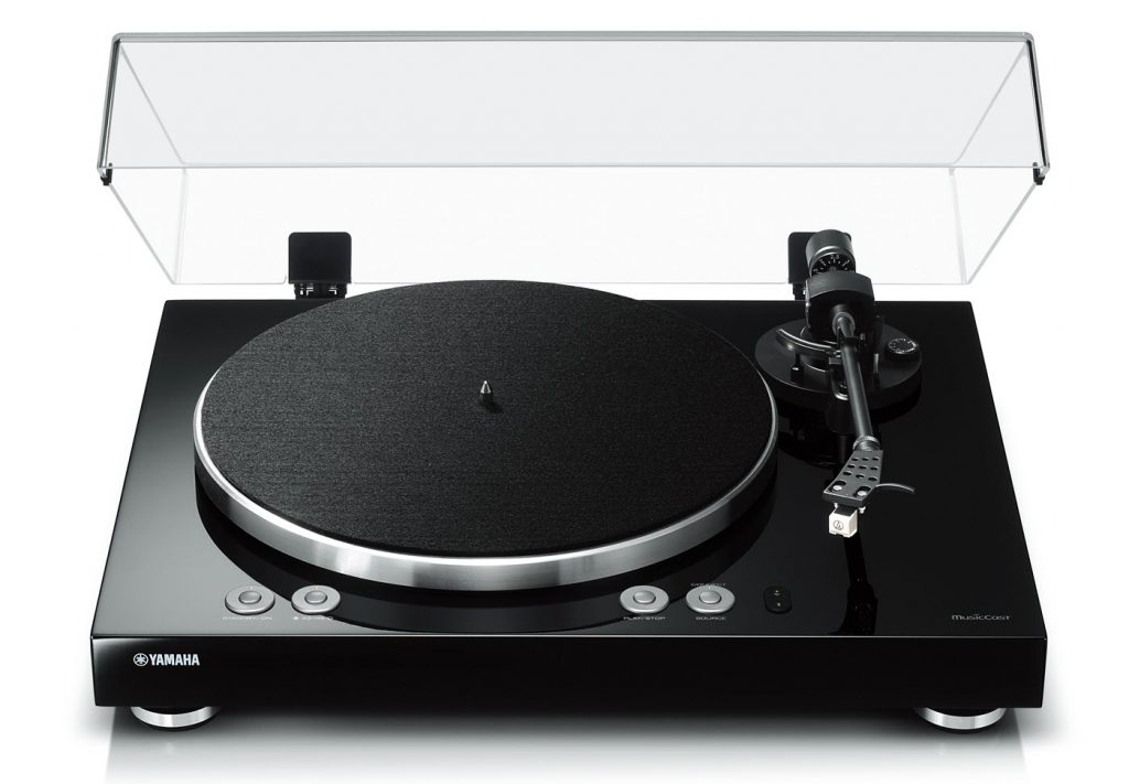 Turntable with the lid open.