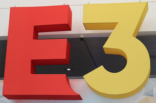 E3 sign hanging in conference hall entry.