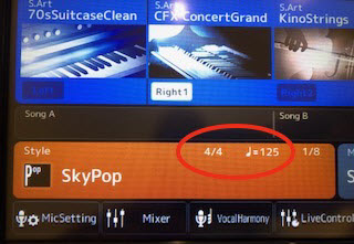 """Closeup of """"SkyPop"""" screen with time indicated of 1/4 note = 12.5 in 4/4 time."""