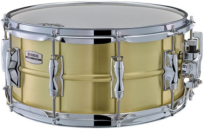 Brass snare drum.