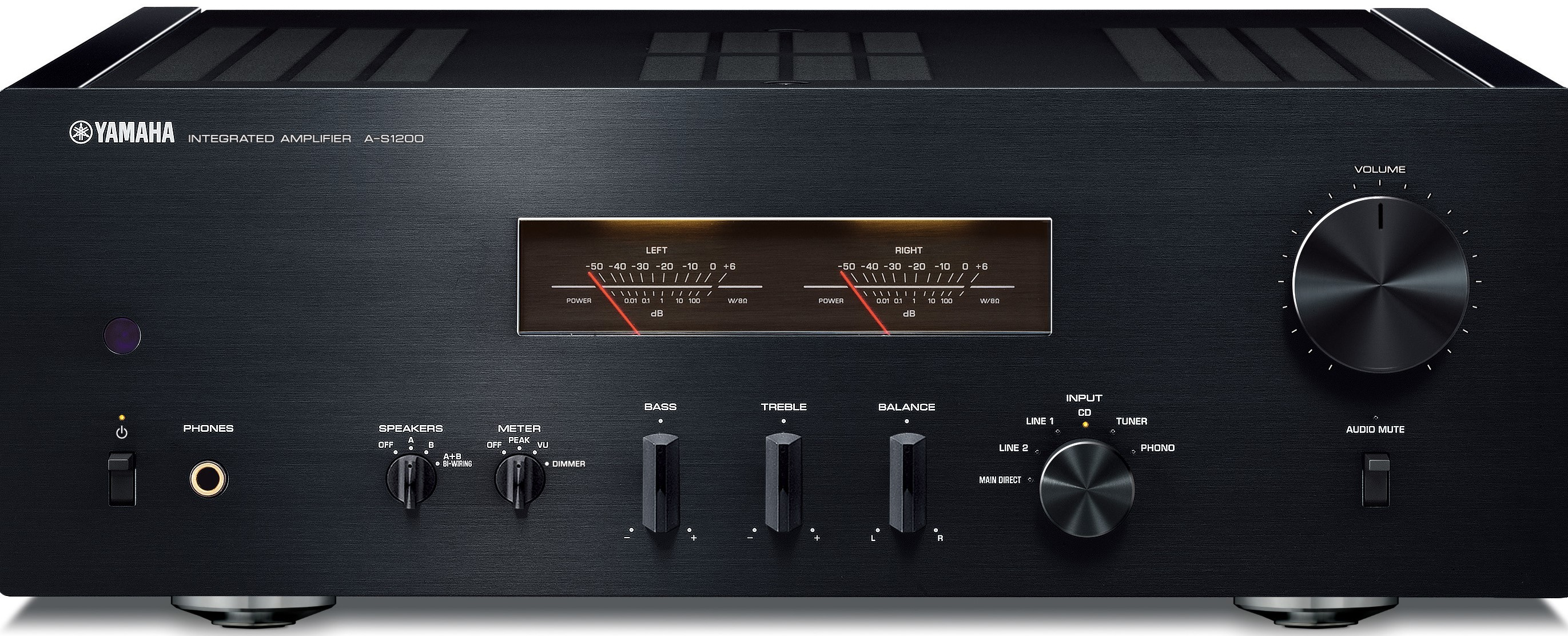 Amplifier with knobs and switches and a center display.