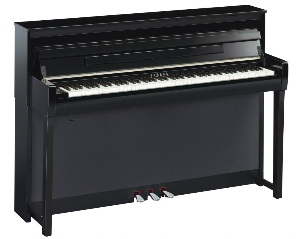 Modern upright piano.