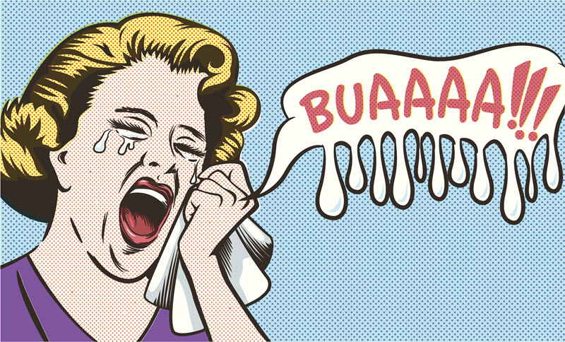 "Cartoon drawing showing a woman loudly crying into a handkerchief with the text in a balloon next to her saying: ""BUAAAA!!!""."