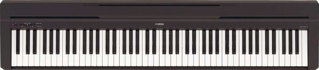 An electronic keyboard with 88 keys.